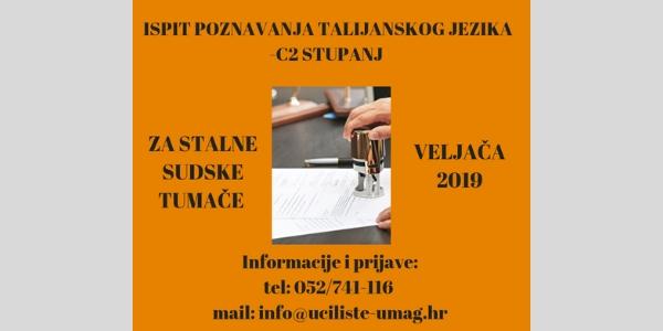 Ispit iz talijanskog jezika stupanj C2 za stalne sudske tumače